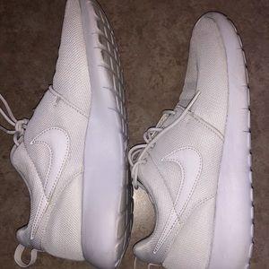 All White Nike Roshe/ Running Shoes